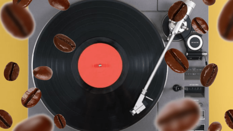 Falling realistic coffee beans isolated on transparent background. Flying defocusing coffee grains. Applicable for cafe advertising. Beans are falling on a turntable.