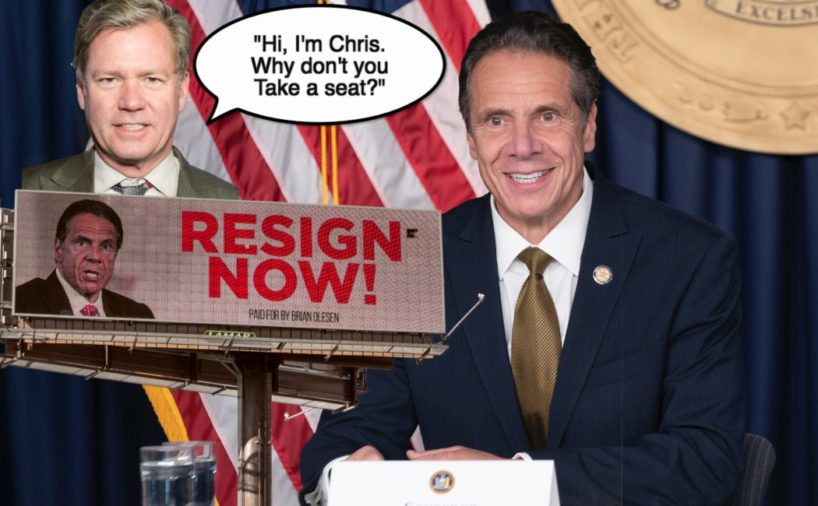 "Chris Hansen appears with Governor Andrew Cuomo and asks him to ""take a seat."""