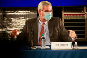 BLOOMINGTON, INDIANA, UNITED STATES - 2020/12/15: Indiana Governor Eric Holcomb wearing a face mask speaks during a round table discussion at Catalent Biologics, where COVID vaccine vials are being filled.