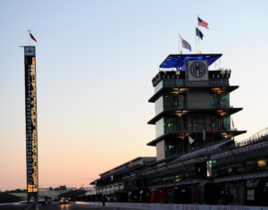 The Pagoda and pit lane at Indianapolis Motor Speedway.