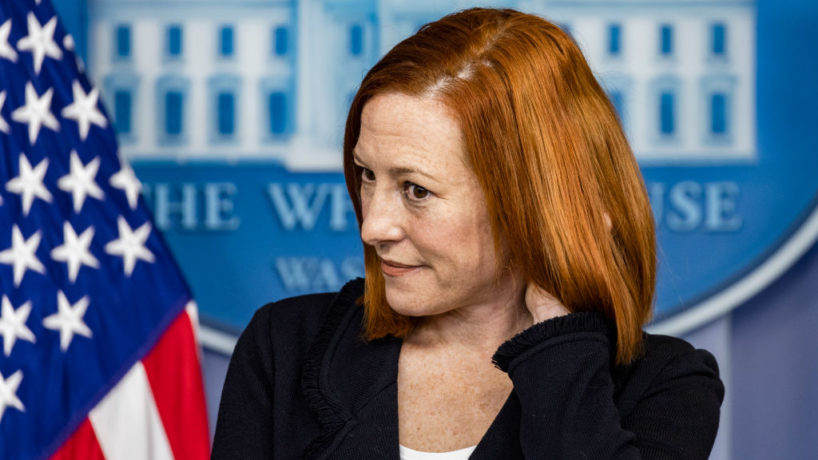 White House Press Secretary Jen Psaki pauses during a daily press briefing at the James Brady Press Briefing Room of the White House March 10, 2021 in Washington, DC. Psaki held a briefing to answer questions from members of the press. (Photo by Alex Wong/Getty Images)