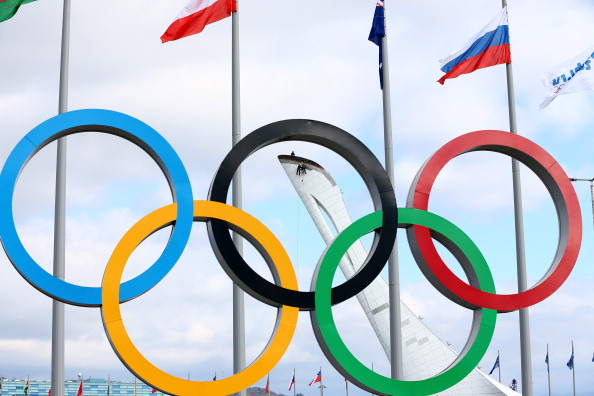 The Olympic rings are displayed in Sochi, Russia.