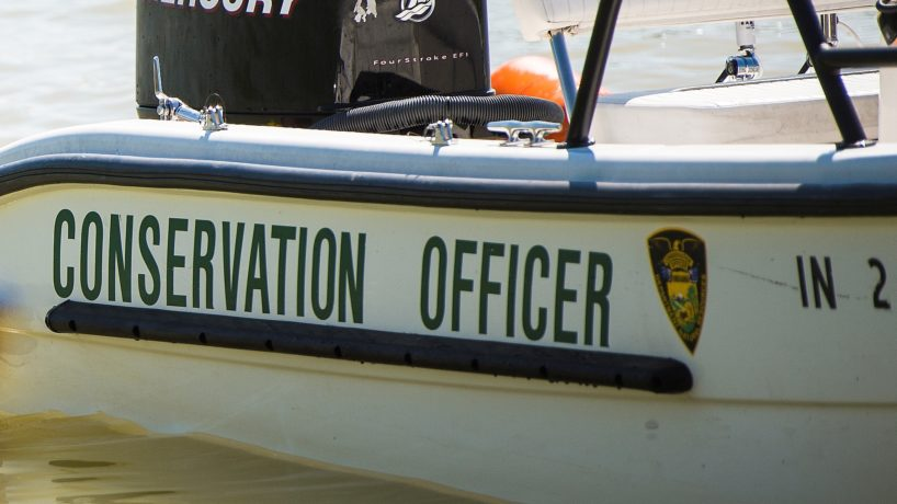 A boat belonging to an Indiana conservation officer.