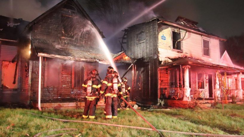 Indianapolis firefighters at the scene of a fire on W. 29th Street.