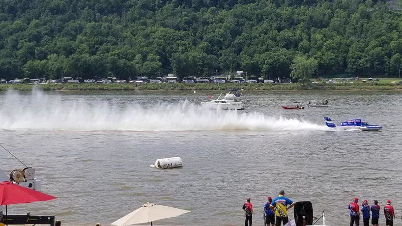 An unlimited hydroplane glides across the Ohio River during the 2019 Madison Regatta.