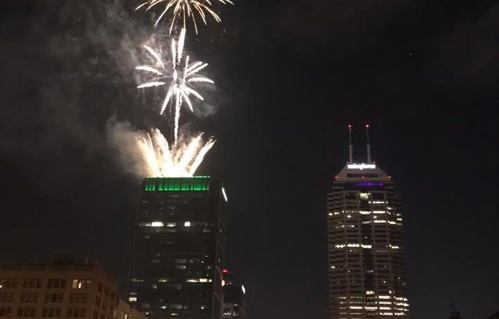 Fireworks launched from the top of the Regions Tower in downtown Indianapolis