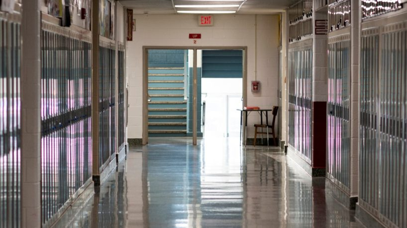 A high school's empty hallway because school is closed due to the caronavirus in March 2020.