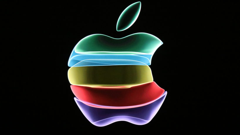 Apple logo in rainbow colors