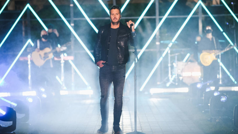In this image released on October 21, Luke Bryan performs onstage at the Sycamore Barn in Arrington, Tennessee for the 2020 CMT Awards broadcast on Wednesday October 21, 2020. (Photo by Jason Kempin/CMT2020/Getty Images for CMT)