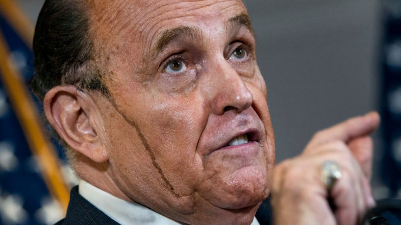 Rudy Giuliani speaks to the press about various lawsuits related to the 2020 election, inside the Republican National Committee headquarters on November 19, 2020 in Washington, DC. President Donald Trump, who has not been seen publicly in several days, continues to push baseless claims about election fraud and dispute the results of the 2020 United States presidential election.