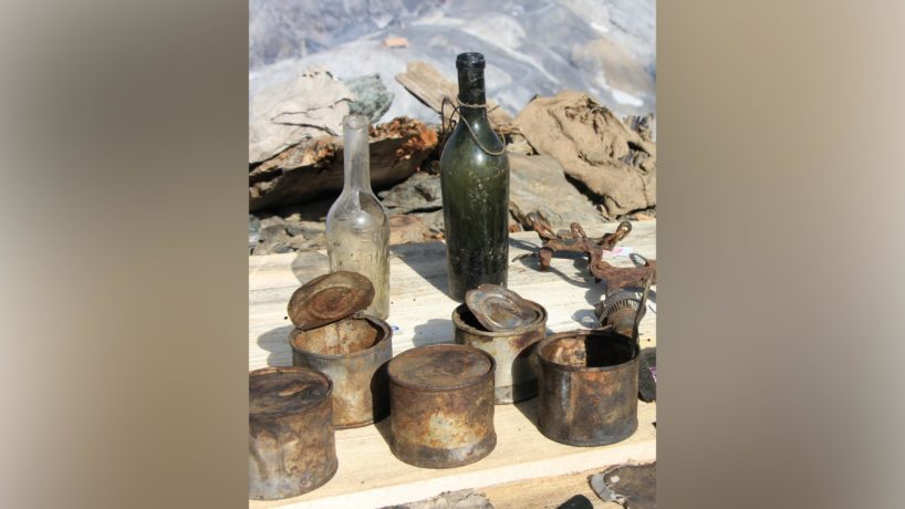 Researchers have recovered a treasure trove of World War I artifacts from a cave shelter in northern Italy revealed by the melting of a glacier. A variety of items were found, including bottles and tins.