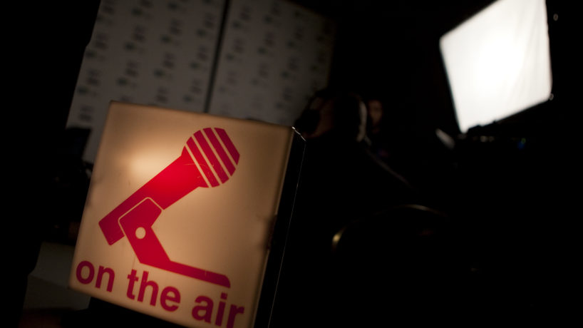 """An """"on the air"""" sign sits on display"""