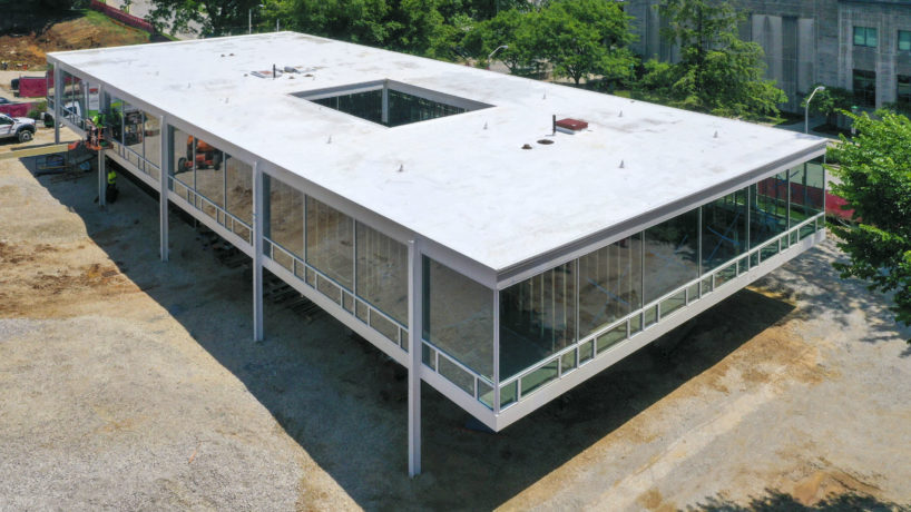 Overhead view of the Mies Building at Indiana University