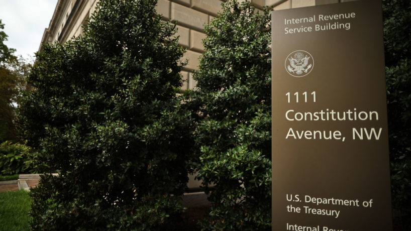 The Internal Revenue Service headquarters building appeared to be mostly empty April 27, 2020 in the Federal Triangle section of Washington, DC.