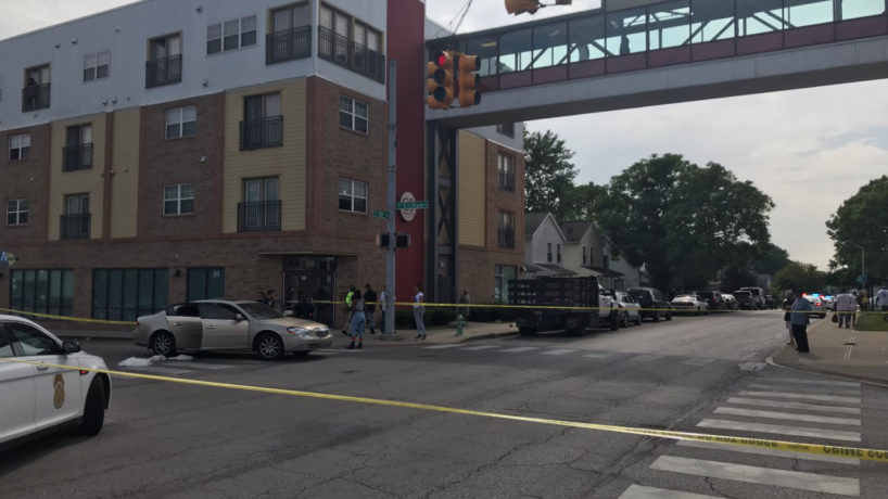 Police tape and cars where shooting happened