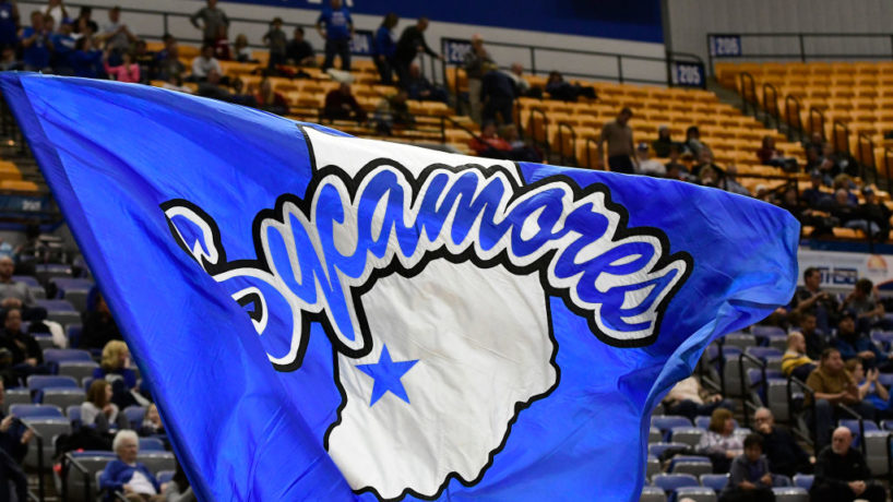 The Indiana State University (ISU) Sycamores flag flies during the game against the Valparaiso University Crusaders, Thursday, December 28, 2017, on Nellie and John Wooden Floor at the Hulman Center in Terre Haute, Indiana.