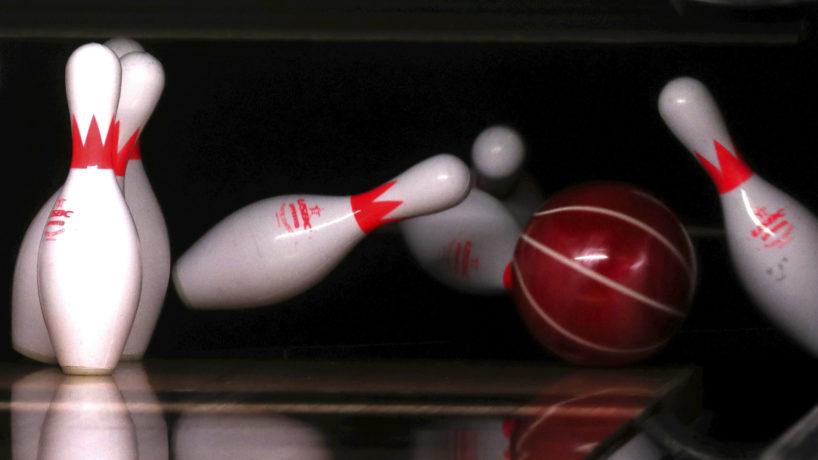 A bowling Ball Wrecking Into Bowling Pins