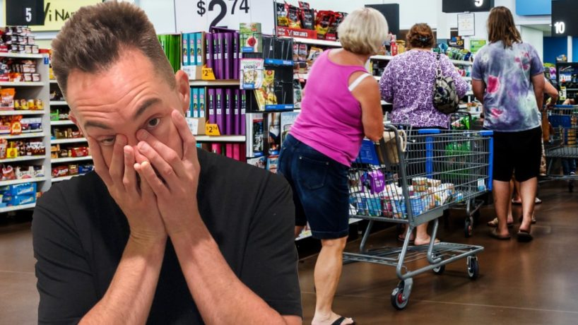 WIBC's Brian Baker is shown with a look of despair while standing in line at Walmart.