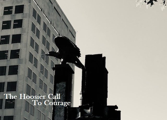 The eagle atop two twin beams at the Indiana 9/11 Memorial