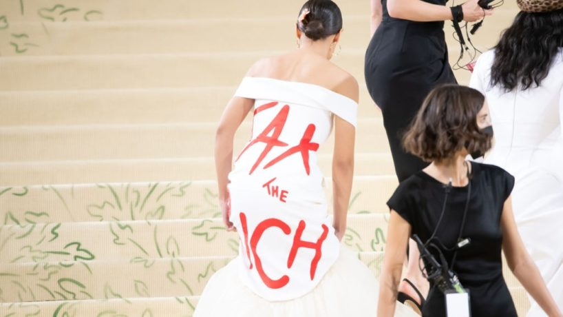 (L-R) Aurora James, Alexandria Ocasio-Cortez, Gemma Chan, and Prabal Gurung attend The 2021 Met Gala Celebrating In America: A Lexicon Of Fashion at Metropolitan Museum of Art on September 13, 2021 in New York City. (Photo by Kevin Mazur/MG21/Getty Images For The Met Museum/Vogue)