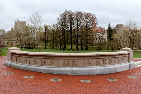 Entrance sign into campus at Indiana University in Bloomington Indiana.