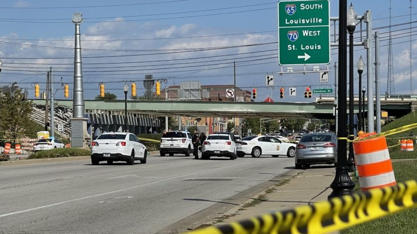 The scene of a shooting in downtown Indianapolis.