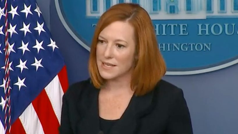 A screen capture shows White House Press Secretary Jen Psaki as she responds to a question from Peter Doocy.
