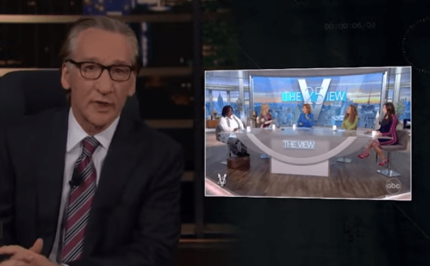 Maher on Real TIme with a still of The View to his right