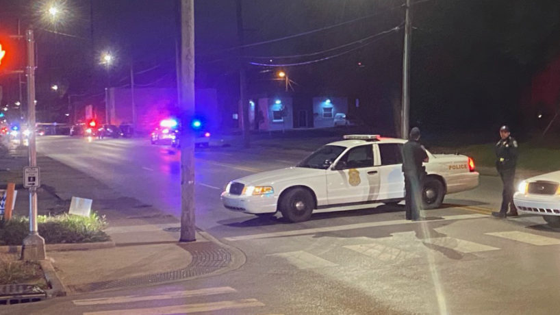 Cop cars at the scene of the shooting