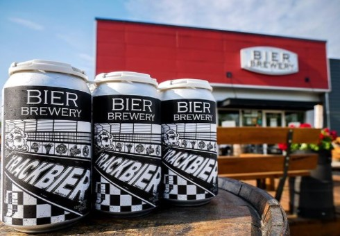 bier cans in front of Bier Brewing Company