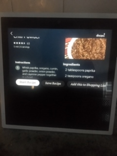 Echo Show with chili powder recipe on screen