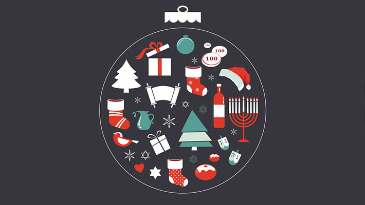 Merry Christmas and Happy Hanukkah seasonal objects on grey background