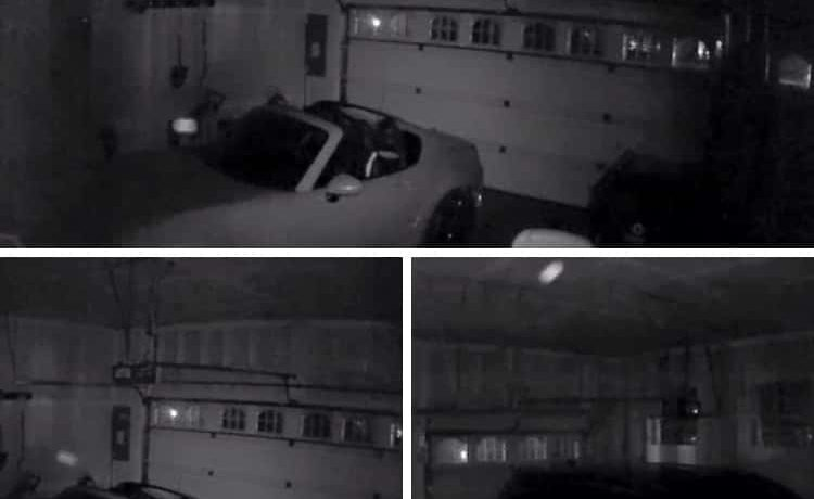 cars in a garage with orbs