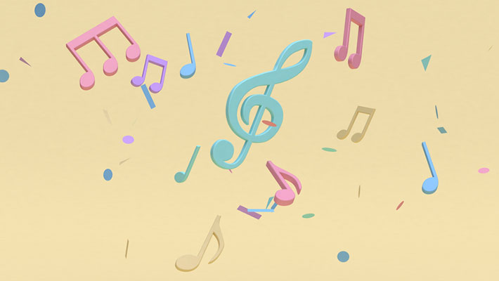3d rendering of abstract colorful many music notes on soft yellow minimal background
