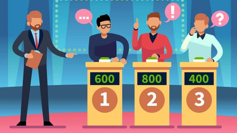 Game quiz show. Clever young people playing television quiz with showman, trivia game tv competition. Cartoon vector illustratio