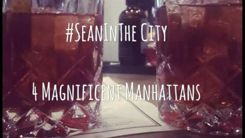 2 manhattan cocktails side by side on a bar