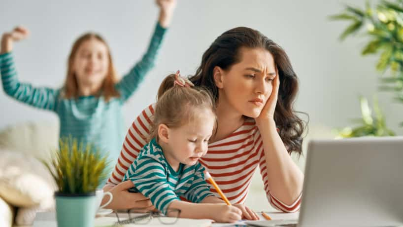 Mom trying to work from home with kids
