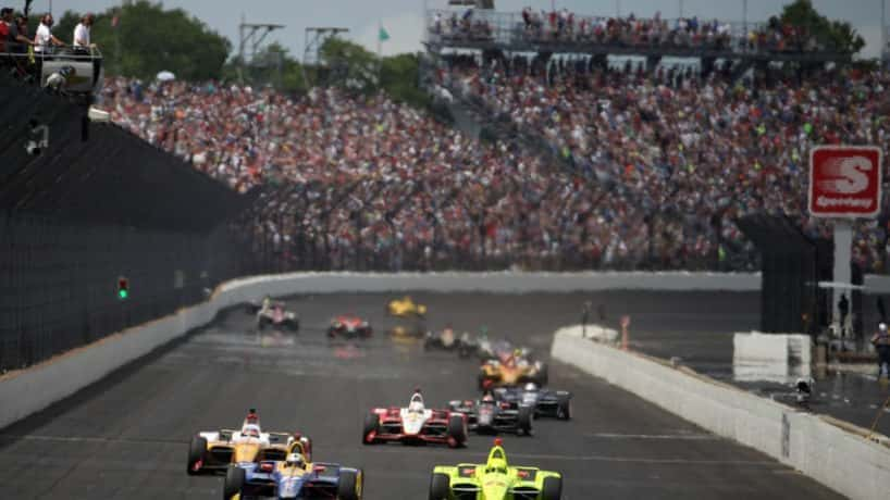cars on the track at IMS