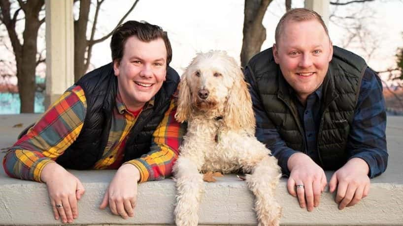 Sean and Andy with their dog