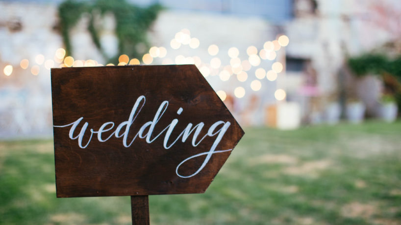 Wedding Sign Pointing Right