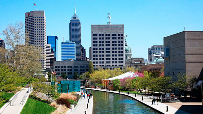 The Canal Walk and skyline of downtown Indianapolis Indiana