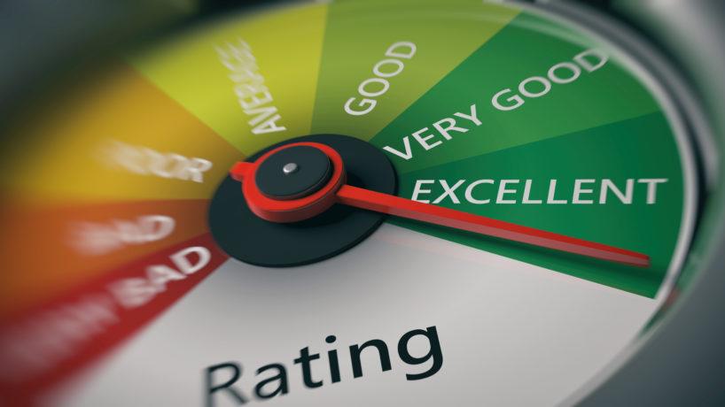 Rating, customer feedback concept. Car speedometer, excellent rating close up. 3d illustration