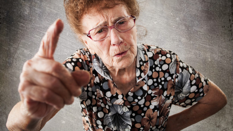 Old Woman scolding someone