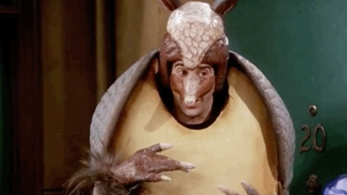 Ross from friends dressed up at the Holiday Armadillo