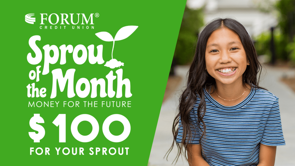 Sprout of the Month banner- little girl smiling