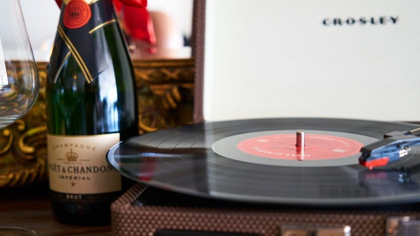 wine and record player