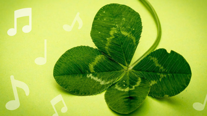 four leaf clover with music notes