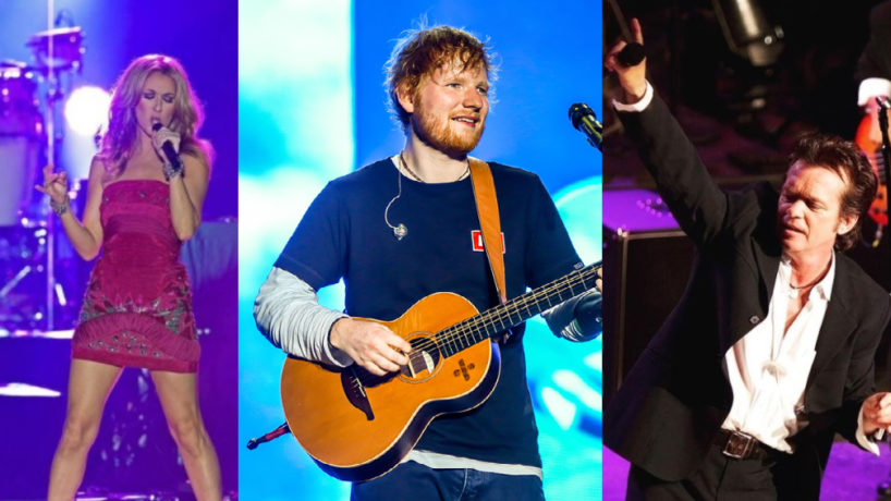 Celine Dion, Ed Sheeran, and John Melencamp all singing