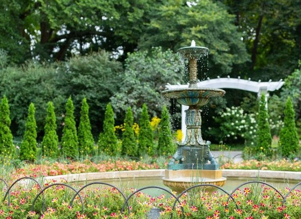 fountain in nature at Newfields