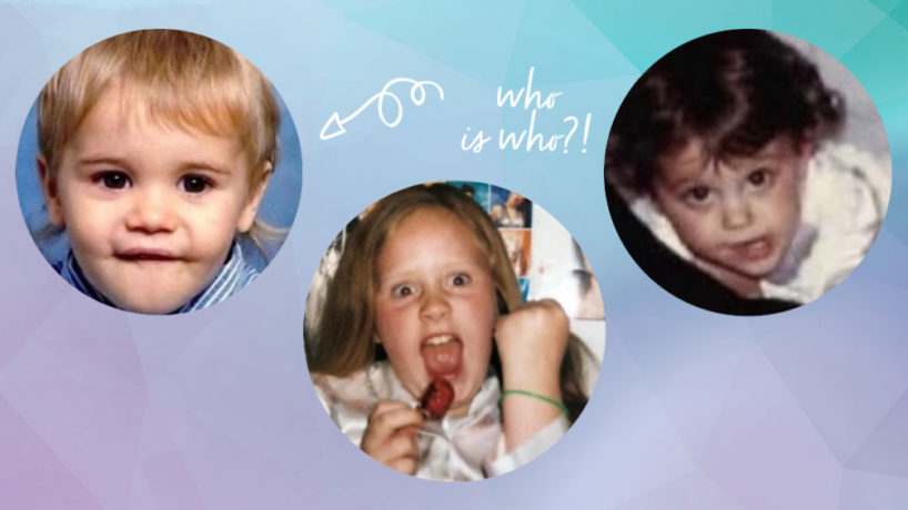 Justin Bieber, Adele, and Ariana Grande as kids